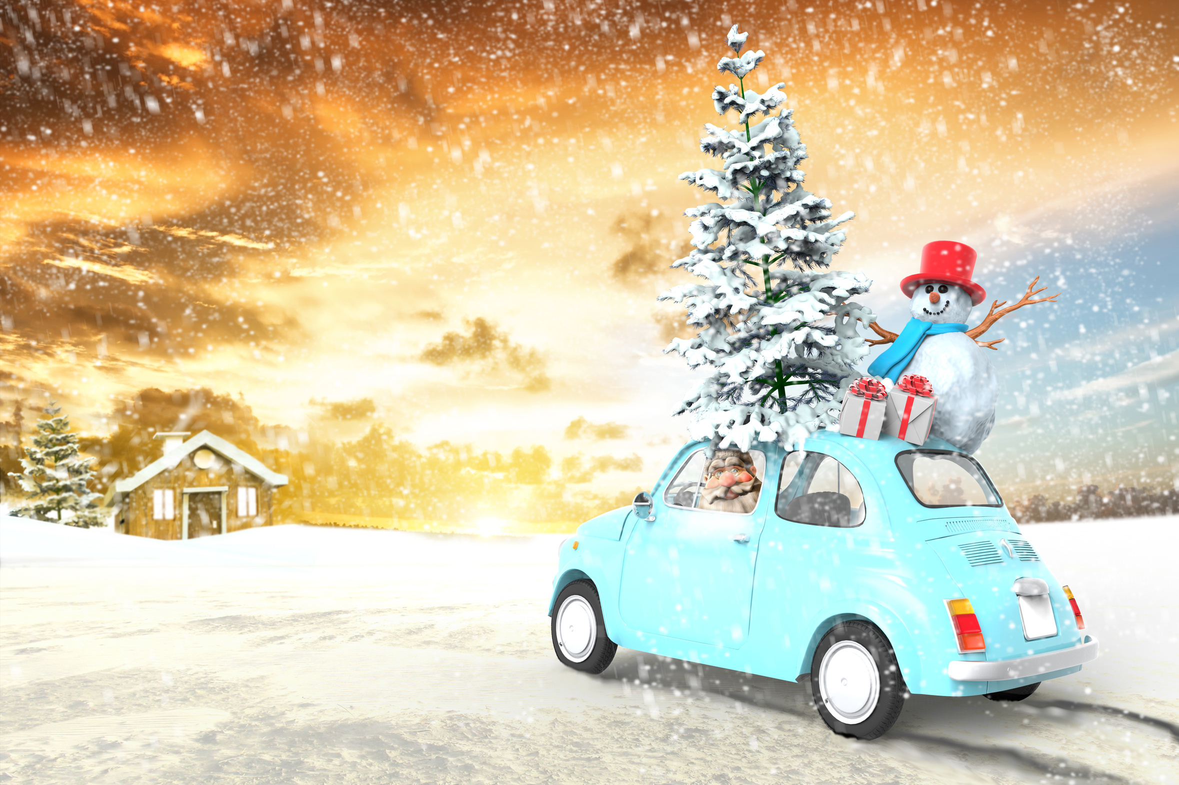 car with santa claus and gifts